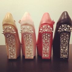 Party in the back. #studs #rhinestones #spikes #heelless #shoes #wedges #fashion