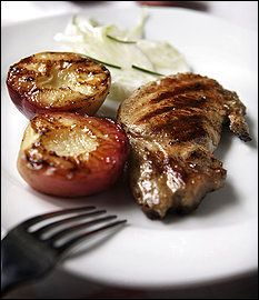 Vanilla pork chops with grilled peaches and fennel salad. Yes, vanilla ...