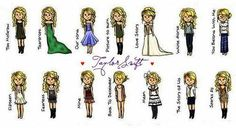 taylor swift...music video outfits....cartoon edition. i love this.