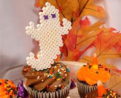 How to make Friendly Ghost Party Cupcake Decorations with Perler Beads!