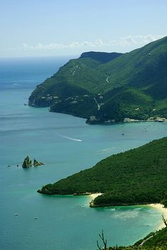 Panoramic view towards Arrábida Natural Park, Portugal (by pmsmgomes).  Oh the green.  Just lovely.