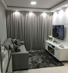 New living room interior grey salons ideas New Living Room, Small Living Rooms, Living Room Designs, Apartment Interior, Apartment Design, Room Interior, Sala Grande, Small Apartment Decorating, Small Apartments