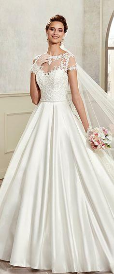 Marvelous Tulle & Satin Bateau Neckline A-Line Wedding Dresses With Beaded Lace Appliques
