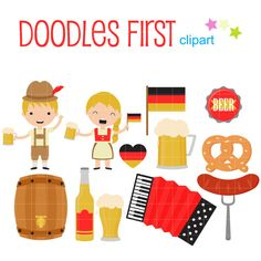 OctoberFest Fun Digital Clip Art for Scrapbooking Card Making Cupcake Toppers Paper Crafts