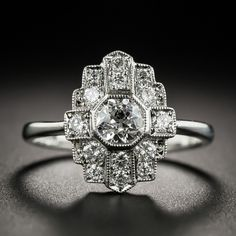 English Art Deco Style Platinum Diamond Dinner Ring - This distinctively dazzling dinner ring is distinguished by its relatively small scale proportions. Bijoux Art Deco, Art Deco Jewelry, Cute Jewelry, Body Jewelry, Jewelry Rings, Jewelry Design, Cartier Jewelry, Jewelry Ideas, Jewellery