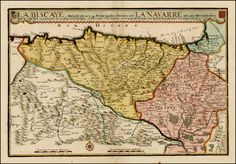 La Biscaye Divisee en ses 4 Principales Parties et La Navarre en ses Merindades . . . 1707    Large detailed map of the northen part of Spain from St. Andero and Santona to Pamplona, etc. centered on Bilbao and Vitoria and extending south to Burgos, focusing on the Biscaya, Navarra and the Pyrennes region.