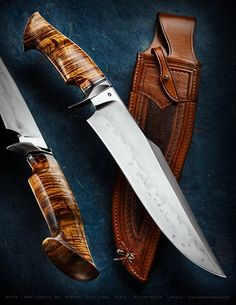 "Sam Lurquin Journeyman Smith test knife. That is one badass Bowie Knife. 11-1/4"" harpoon-clipped blade made from W1 steel, Koa wood sculpted handle, OAL 17 1/8"". Sheath by Paul Long. Perfect."