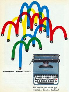 Giovanni Pintori's 1953 poster for the Olivetti Lettera 22 typewriter, via the Museum of Modern Art, New York Vintage Graphic Design, Graphic Design Print, Retro Design, Icon Design, Design Art, Vintage Advertisements, Vintage Ads, Olivetti Typewriter, Leo Lionni