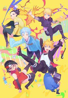 Shikadai, Inojin, Mitsuki, Boruto, Sarada y Denki Anime Naruto, Naruto Kakashi, Naruto Shippuden, Sarada E Boruto, Naruto Team 7, Shikadai, Naruto Art, Anime Manga, Sasunaru