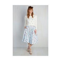 Cats Mid-length Full Crush on Kawaii Skirt ($30) ❤ liked on Polyvore featuring skirts, apparel, blue, bottoms, full skirt, cat print skirt, flower skirt, print midi skirt and midi skirt