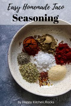 This easy homemade taco seasoning mix comes together in less than 5 minutes and makes the best addition to your favorite Mexican food. Vegetarian Recipes Easy, Delicious Vegan Recipes, Clean Eating Recipes, Mexican Food Recipes, Whole Food Recipes, Vegetarian Grilling, Healthy Recipes, Dip Recipes, Recipes Dinner