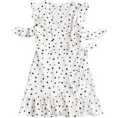 Polka Dot Cold Shoulder Ruffle Wrap Mini Dress (99 BRL) ❤ liked on Polyvore featuring dresses, cold shoulder mini dress, ruffle wrap dress, white cold shoulder dress, white wrap dress and mini wrap dress