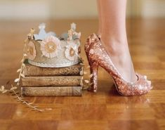 sparkly heels make a party, a paper crown helps too