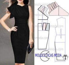 All Things Sewing and Pattern Making Dress Sewing Patterns, Clothing Patterns, Sewing Clothes, Diy Clothes, Diy Fashion, Ideias Fashion, Fashion Black, Fashion Details, Vintage Fashion