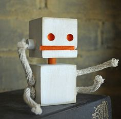 Block Bot Wooden Toy Robot by wilsonartfactory on Etsy, $8.00 ...