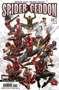Spider-Geddon Comic Issue 1 Limited Variant Modern Age Second Print 2018 Gage Marvel Comic Universe, Marvel Comics Art, Comic Movies, Comic Books Art, Spaider Man, Spiderman Art, Spiderman Suits, Marvel Wallpaper, Spider Verse