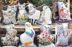 Carolyn Barrani's Tapis Tree Animal Crewel Sampler Pillow Kits.  Choose from Berry Bear, Cottage Kitty, Dairy Princess, Demure Ewe, Jacobean Bunny, Lady Prance-A-Lot, Lucy Goosie, Poppy Dog and Rosebud.