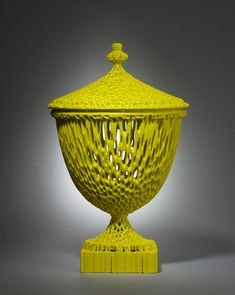 michael eden - The Wedgwoodn't Tureen, Rapid Manufactured with a lemon coloured non-fired ceramic coating. Contemporary Ceramics, Modern Ceramics, Contemporary Art, Ceramic Pottery, Ceramic Art, Digital Fabrication, Gadgets, Ceramic Coating, 3d Design