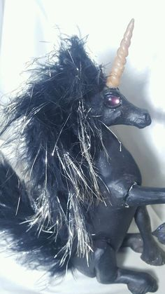 OOAK Ugly Black Unicorn Statue Collectible Feathery Mane Tail Pink Eyes Kitsch