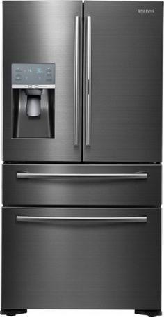 Samsung - ShowCase 22.4 Cu. Ft. 4-Door Flex French Door Counter-Depth Refrigerator - Black Stainless Steel - Front Zoom
