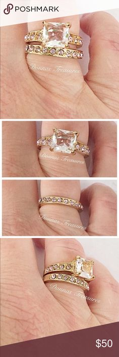 🍀3.5 Carat Pink & White CZ Wedding Set The 1.5 ct White CZ Center Stone is flanked on either side by 5 smaller Pink Channel Set CZ's. in a classic 10K Gold Filled Setting. The band is highlighted by 12 Pink CZ's going halfway around in the same Gold Filled Setting for a total of approx 3.5 ct's. worth of Sparkle!  All stones I have been examined and are firmly in place. #0527-2 Jewelry Rings