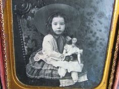 cute little girl holding her large doll daguerreotype photo by Tyler & Co. Beautiful Old Woman, Daguerreotype, Antique Photos, Cute Little Girls, Hold On, Dolls, Antiques, Children, Photography