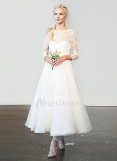 a lineprincess scoop neck ankle length organza lace wedding dress 0025057525