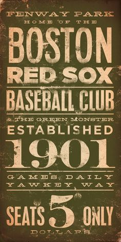 Boston Red Sox baseball club Fenway typography graphic word art on canvas 10 x 20 by stephen fowler