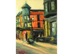 Downtown Coffee Shop realist impressionist original city architectural buildings oil painting art  red yellow green warm cafe street art Cityscapes, Painting Art, Impressionist, Coffee Shop, Color Schemes, Street Art, Buildings, Oil, Warm