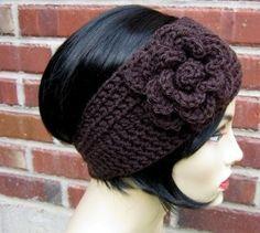 Espresso Crocheted Flower Headband/ Earwarmer Size...