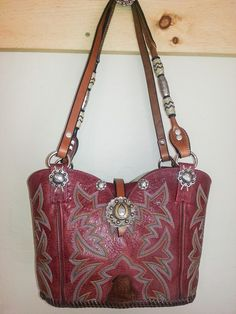 #787-13 Red Cowboy boot purse with horse bridle handle