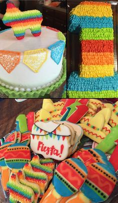 Fiesta 1st Birthday Cake & Cookies -- Piñata cake with buttercream ruffles and smash cake with cornelli lace flag banner and sugar cookies with piped glaze | www.creativeontheside.com Mexican Birthday Parties, Baby Boy 1st Birthday Party, Mexican Party, 1st Boy Birthday, Birthday Ideas, Birthday Cake, Piniata Cake, Cake Cookies, Sugar Cookies