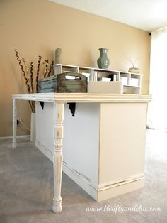 Convert Dresser into a Desk (I like the use of table legs here)