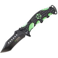 """Biohazard 8"""" Spring Assisted Folding Rescue Zombie Pocket Knife ($9.49) ❤ liked on Polyvore featuring weapons"""