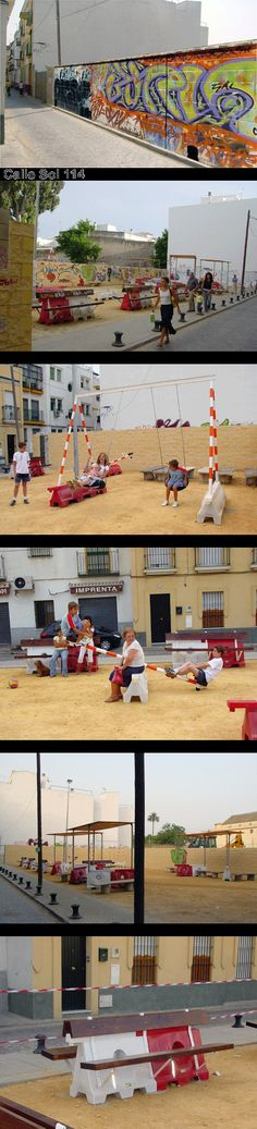 Leftover traffic cones, barriers, and diverters can gain new life as the building blocks of urban pocket parks, as seen here in Sevilla. These upcycled items can become swings, see-saws, seating, shade structures, and so much more with the right ingenuity and inspiration! #Placemaking #LQC #Upcycling