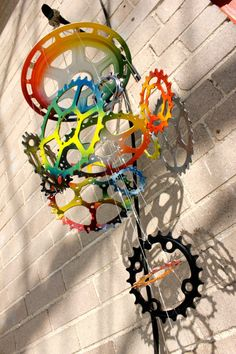 Bicycle Wind Chime  4 tier 19 piece mixed colors by WhimcycleArt, $53.75
