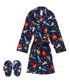 Loving this Panties Plus Navy Space-Theme Robe & Slippers Set - Toddler & Boys on #zulily! #zulilyfinds
