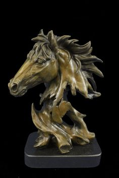 COLLECTIBLE BRONZE SCULPTURE STATUE Animal Original Milo Gorgeous Bust Horse Hea
