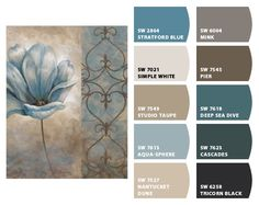 Color palett of Sherwin Williams blues/earth tones/cream/