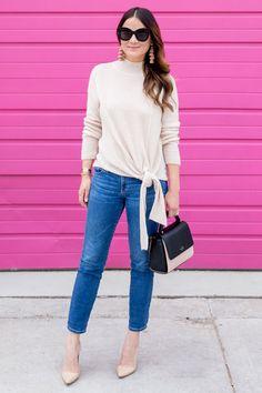 Nordstrom Pink Tie Hem Sweater