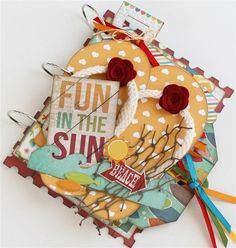I heart summer mini album (Medium) - Julie Johnson of Paisleys and Polka dots created this beautiful one of a kind FUN IN THE SUN mini album! http://simplestories.typepad.com/simple_stories/2013/06/july-guest-designer-julie-johnson.html