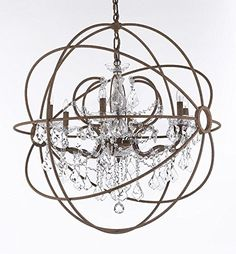 """Wrought Iron Empress Crystal (Tm) Red Rusted Painted Foucault's ORB Chandelier Lighting W 32"""" H 34.5"""" Gallery http://www.amazon.com/dp/B00RC35DLY/ref=cm_sw_r_pi_dp_AFa7vb1AF5C06"""