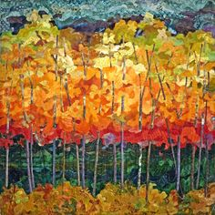 Autumn Aspens  The tree foliage is raw edge pieced.  The tree trunks are woven through tiny slashes in the quilt and are 3-dimensional at the bottom.  By Nancy Messier