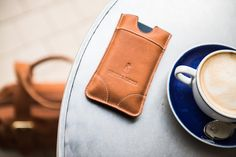 Luxury Tan Iphone Holder - with a coffee Fiartrade. Buy at: www.bettyandbetts.com