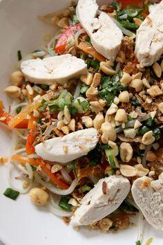 Salade vietnamienne (poulet, carotte, poivron rouge, pousse soja, nouille de riz, menthe, coriandre)