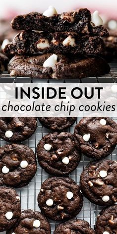 These inside out chocolate chip cookies are also known as Chocolate White Chocolate Chip Cookies. They're rich and soft with brownie-like fudge centers and chewy edges. Filled with sweet white chocolate chips. My best basic chocolate cookie recipe on sallysbakingaddiction.com #chocolatelovers #cookies #baking Fun Baking Recipes, Easy Cookie Recipes, Sweets Recipes, Just Desserts, Delicious Desserts, Snack Recipes, Cookie Ideas, Dinner Recipes, Yummy Food
