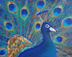 Artículos similares a IMPRESIÓN del arte / Peacock, arte de pájaros, aves exóticas, pavo real decoración, vivero de pavo real en Etsy
