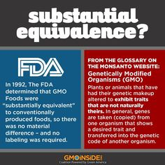 Are you familiar with substantial equivalence? Substantial equivalence assumes that if a GMO contains similar amounts of a few basic components such as protein, fat, and carbohydrate as its non-GMO counterpart, then the GMO is substantially equivalent to the non-GMO and no compulsory safety testing is required. This is how GMOs were made available in the U.S. Read more here and share this graphic about substantial equivalence: #GMOs #GMOseeds #nonGMO