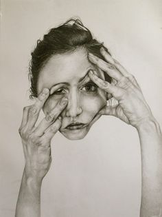 "Self-Deception Portraits. Artist and illustrator Gillian Lambert created this series of drawings called ""Self-Deception"". The artist graduated from Kenyon Gillian Lambert, Face Distortion, Theme Design, Art Alevel, A Level Art, Ap Art, Gcse Art, High Art, Portraits"