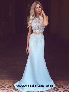 Meerjungfrau Abendkleid Stephana Hell Blau Zweiteilig